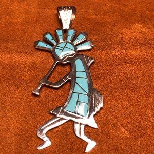 Jewelry - Kokopelli Turquoise Silver Pendant